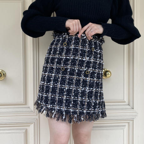 tweed  double  button mini skirt black