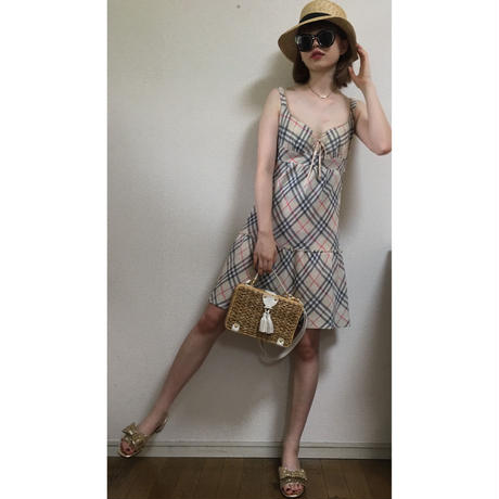 Burberry check design ribbon one-piece