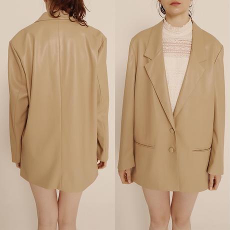 épine logo lining leather jacket beige