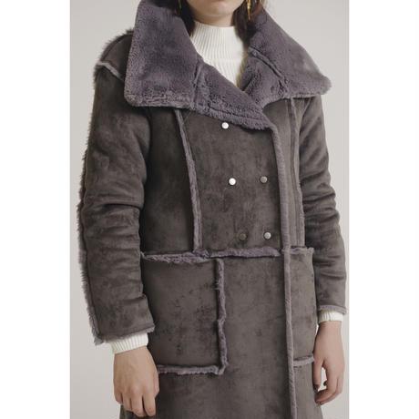 mouton long fur coat gray