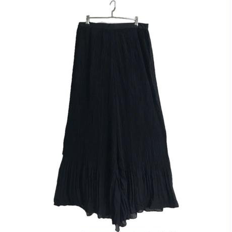 see-through pleats wide pants