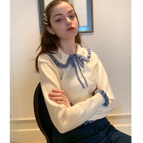 frill collar pearl knit cardigan ivory×ice blue