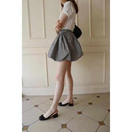 balloon volume mini skirt gingham check