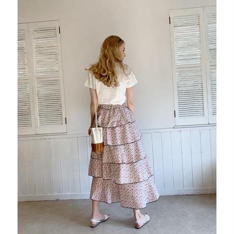 piping flower 5frill long skirt white