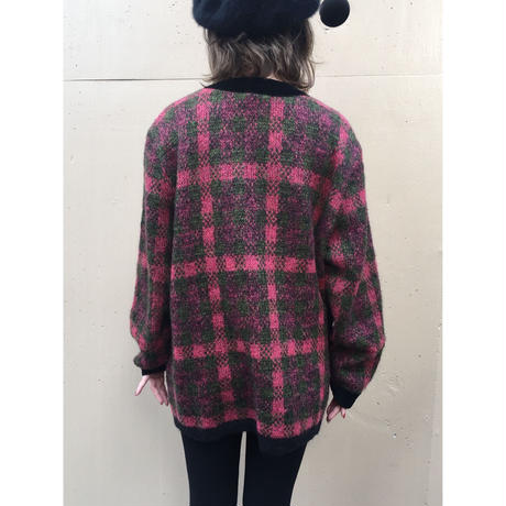 velour piping check knit cardigan