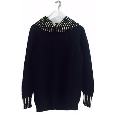 studs 2way knit Black