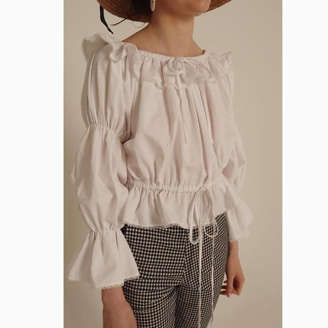 frill lace 2way Tyrol blouse cotton white