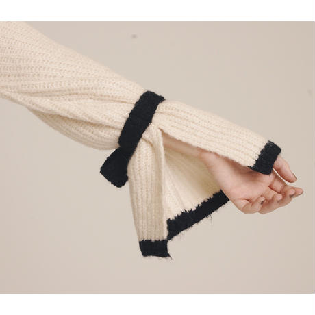 arm ribbon bi-color knit tops