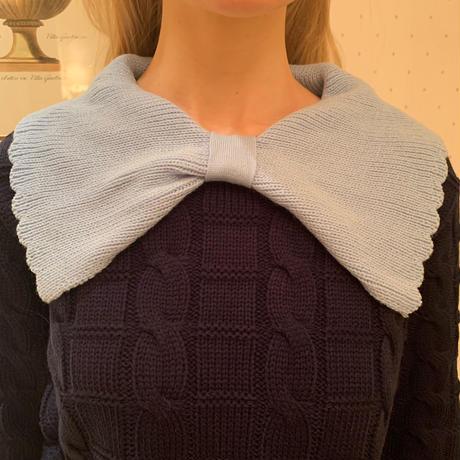 big ribbon collar knit navy×ice blue