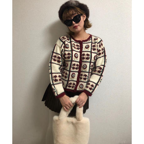 flower motif knit cardigan