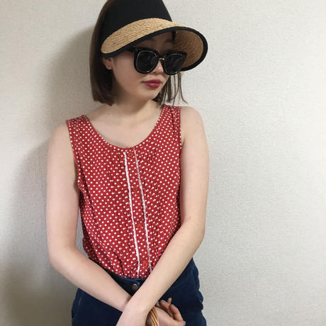 frill dot blouse red