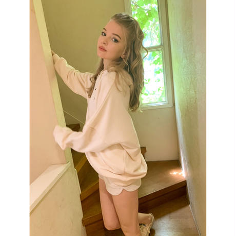 épine embroidery star hoodie ivory Ssize