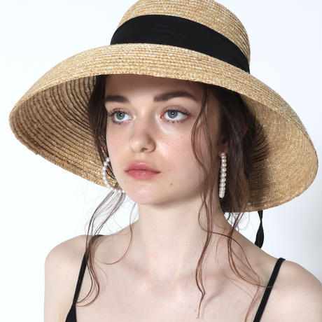 classical ribbon wide hat black