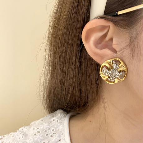 gold×silver design vintage earring(No.3479)