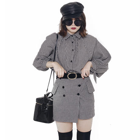 monotone check arm volume design shirt