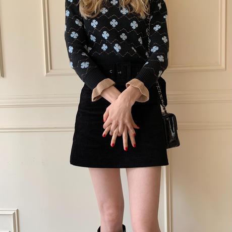 corduroy belt mini skirt
