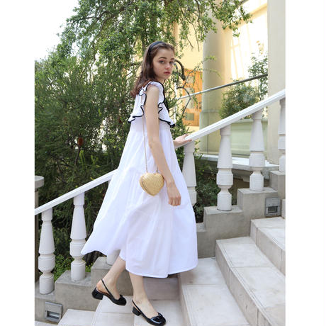 front lace piping ribbon tiered onepiece