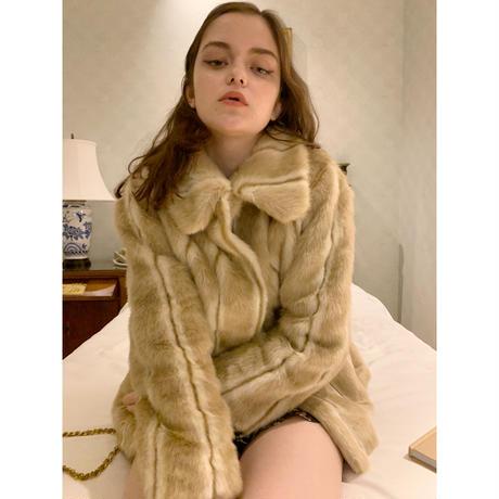 parisienne ribbon 2way fur coat beige