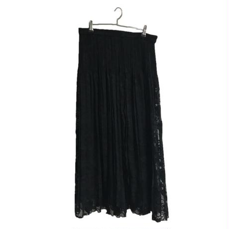 see-through flower design pleats skirt