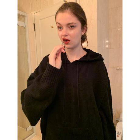 épine label loose knit hoodie black