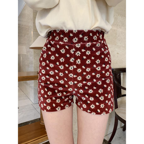 velours flower short pants red