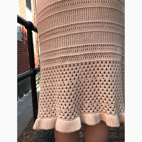 knit crochet skirt beige