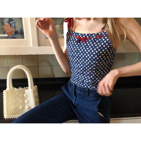 denim flower ribbon camisole