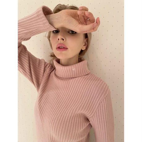 é embroidery rib knit high neck pink