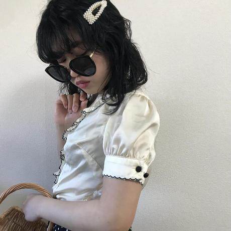 black piping frill blouse