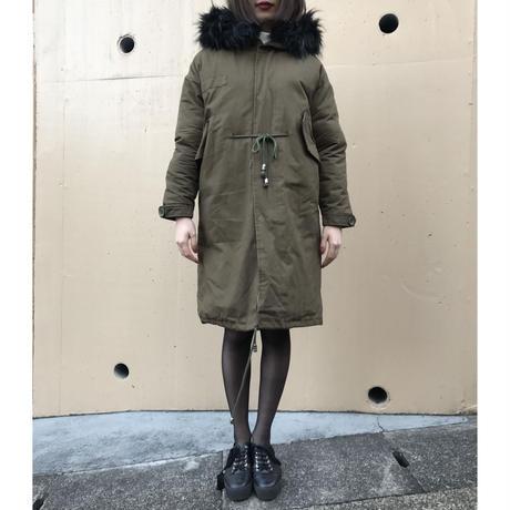 fur hood long down coat khaki