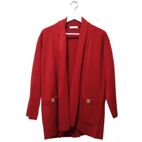 gold botton red gown