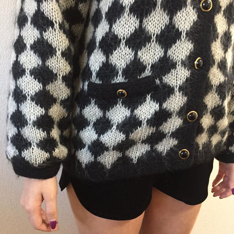 monotone pattern knit cardigan