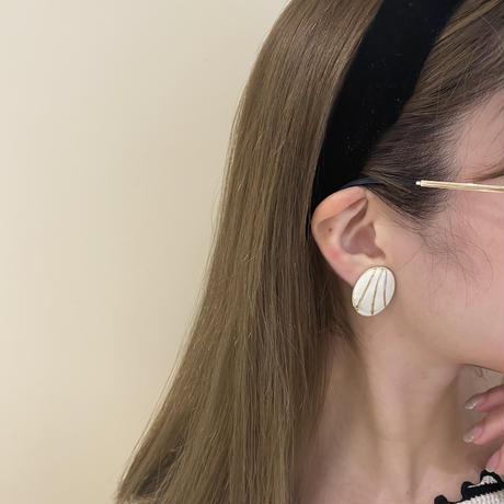 gold  line vintage earring(No.4150)