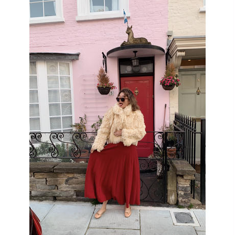 volume knit long skirt red