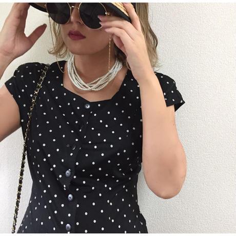 square neck dot blouse