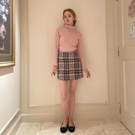 tweed check mini skirt baby pink