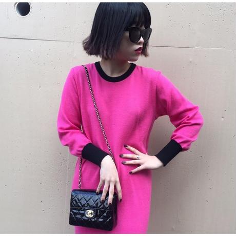 YSL logo knit one-piece pink