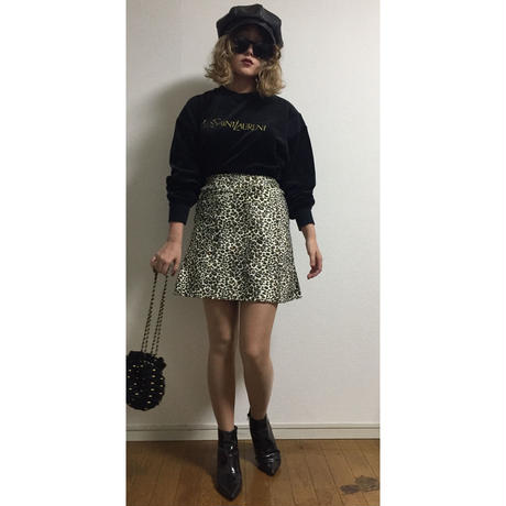 leopard fur mini skirt