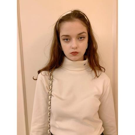 é embroidery cotton high neck ivory