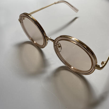beige gold frame clear sunglasses