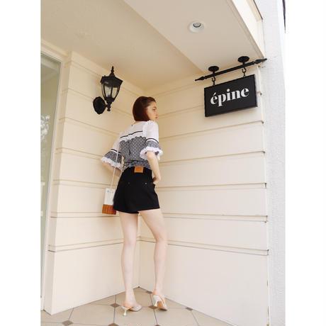 épine high-waist denim short pants  black