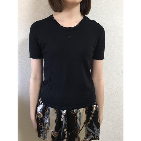 courrèges piping logo summer knit tops