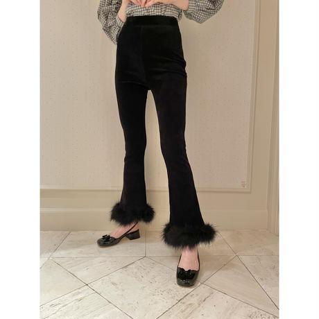 high-waist fit corduroy fur pants black