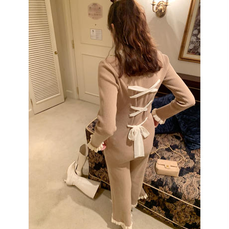 【Special price】lace up ribbon frill rib knit set up beige