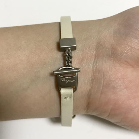 ferragamo white leather belt bracelet