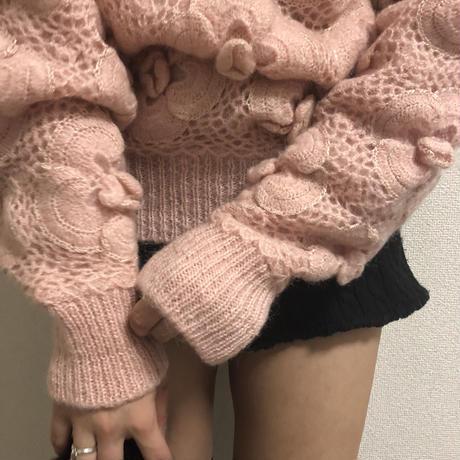 flower motif knit baby pink