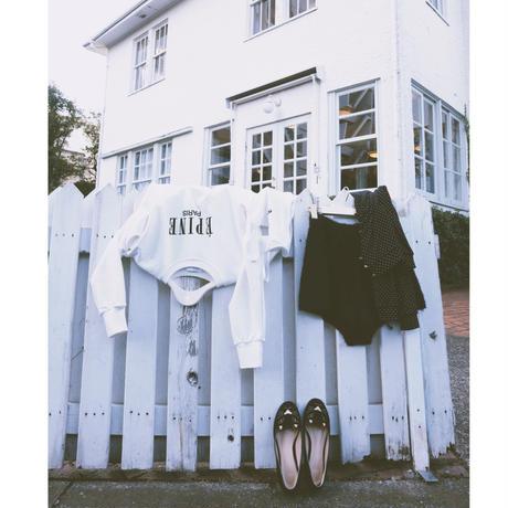 ÉPINE PARIS embroidery sweat white×black