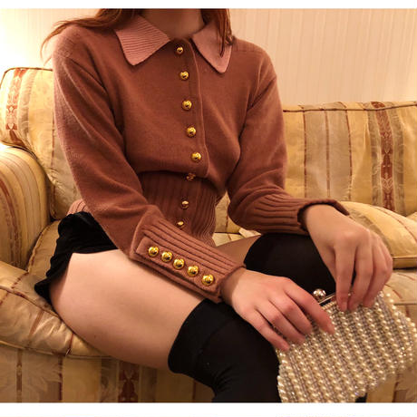 bi-color gold botton knit cardigan brown