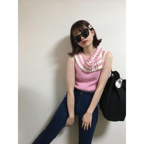 courrèges  neck border design knit pink