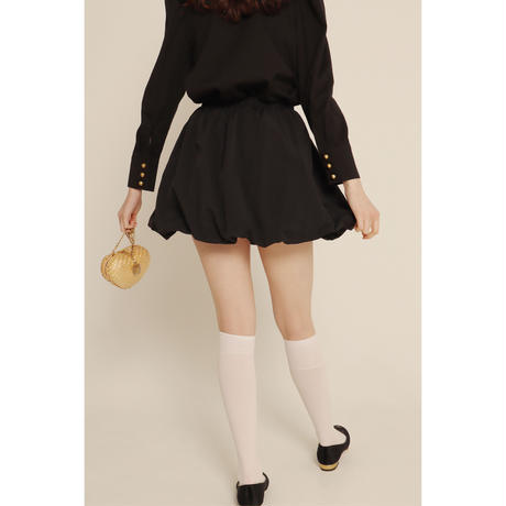balloon volume mini skirt black